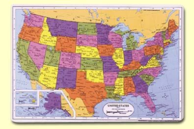 Painless Learning Placemats - Map of the us states and their capitals