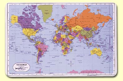 Painless Learning Placemats - World map and their capitals